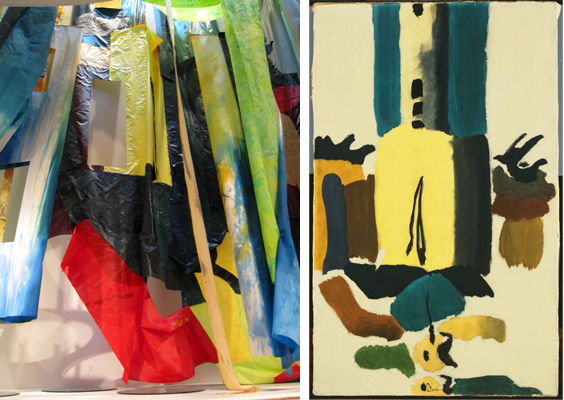 Left: Flour Mill (detail), 2011, Sam Gilliam. Right: Flour Mill II, 1938, Arthur Dove
