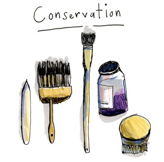 Drawing of conservation tools