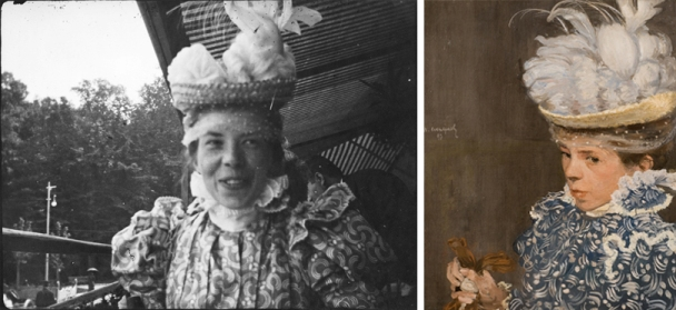 (Left) Henri Evenepoel, Louise at Wépion, summer 1897. Modern gelatin silver print, 2011, from original negative, 1 1/2 x 2 in. © Archives of Contemporary Art in Belgium–Royal Museums of Fine Arts of Belgium, Brussels. (Right) Henri Evenepoel, Louise at Wépion, summer 1897. Modern gelatin silver print, 2011, from original negative, 1 1/2 x 2 in. © Archives of Contemporary Art in Belgium–Royal Museums of Fine Arts of Belgium, Brussels. Henri Evenepoel, The White Hat, 1897. Oil on canvas, 22 3/8 x 18 1/8 in. Collection of Eric and Louise Franck, London.