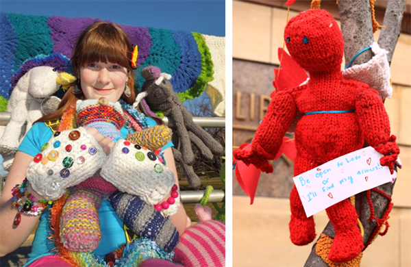 (Left) Antonia Harrison, age 12, knitting prodigy. Photo: Inga Gracyalny Garcia. (Right) Antonia's cuddly cupid creation for the Yarning for Love project. Photo: Charles Mahorney.