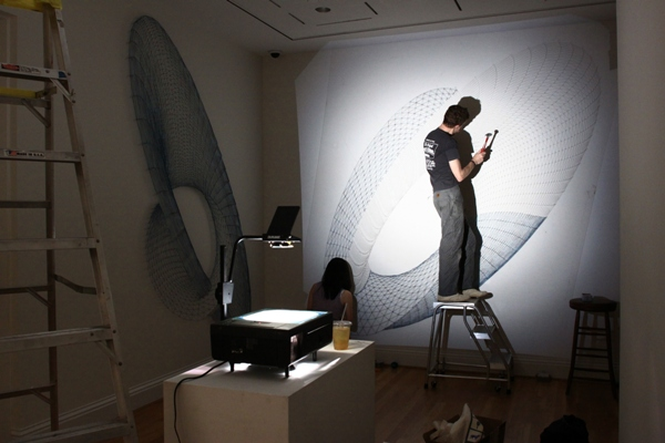 Gallery view of Alyson Shotz's Ecliptic during installation. Photo: Charles Mahorney