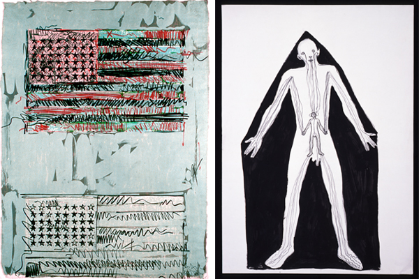 (left) Jasper Johns, Flags II, 1970. Lithograph with stamp, 33 1/2 x 25 in. John and Maxine Belger Family Foundation. Art © Jasper Johns and ULAE / Licensed by VAGA, New York, NY. (right) Antony Gormley, Mansion, 1982. Black pigment, oil, charcoal on paper, 33.07 x 23.62 in. Courtesy of Sean Kelly Gallery, New York. © Antony Gormley