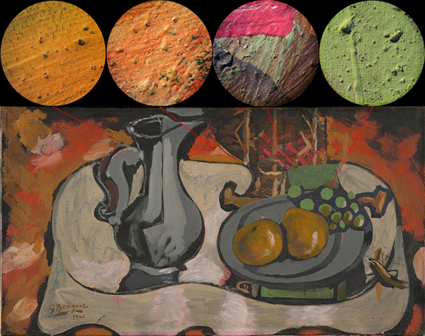 Some views of the unvarnished paint surface Braque's small still life as seen through the microscope at 20x magnification.  The painting is now on view at The Phillips Collection. Photos: Patti Favero