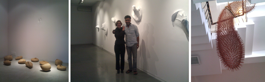 "(Left) Balasubramaniam (aka Bala), Stone Waves, Fiberglass and sandstones  Dimensions Variable / 2010-2011. (Center) Vesela Sretenovic and Bala in front of his work, Nothing From My Hands. (Right) Balasubramaniam (aka Bala), Dead-line, Iron and jute   48 x 19 x 105"" / 2011. Photos: Vesela Sretenovic."