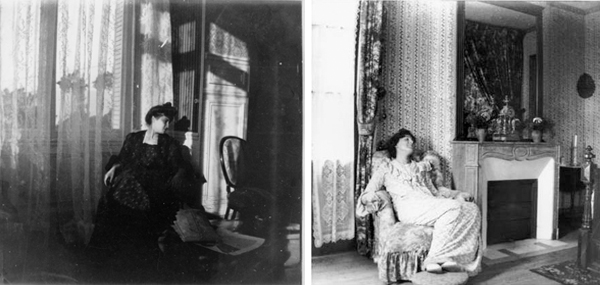 Edouard  Vuillard (left) Misia Natanson seated at the window in the salon of La Croix des Gardes, in Cannes, 1901.  Gelatin silver print; 3 ½ x 3 ½ in. Private collection. (right) Lucy Hessel seated in the salon of La Terrasse, in Vasouy, 1904.  Gelatin silver print; 3 ½ x 3 ½ in. Private collection.