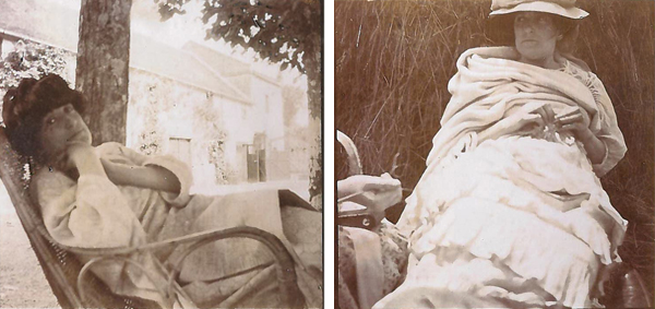 Edouard Vuillard, (left) Lucy Hessel at Le Chateau Rouge, Amfréville, 1905. Gelatin silver print; 3 ½ x 3 ½ in. Private collection. (right) Lucy Hessel leaning against a haystack in Amfréville, 1907. Gelatin silver print; 3 ½ x 3 ½ in. Private collection.