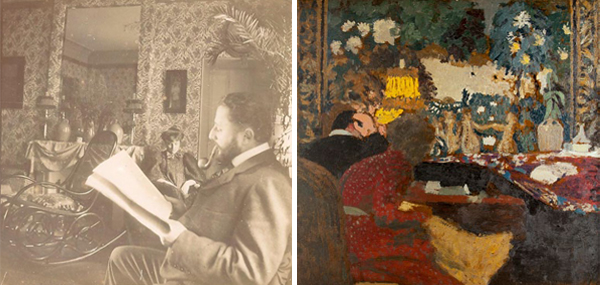 Edouard Vuillard, (left) Thadée and Misia Natanson in the salon, Rue St. Florentin, 1898. Gelatin silver print; 3 ½ x 3 ½ in. Private collection. (right) In Front of the Tapestry: Misia and Thadée Natanson, Rue St. Florentin, 1899. Oil on board; 19 x 20 in. Private collection.