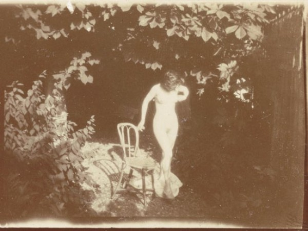 Bonnard, Marthe in Montval, standing by a chair, 1900-01. Modern print from original negative; 1 1/2 x 2 1/8 in. Musée d'Orsay, Paris, Gift of the children of Charles Terrasse, 1992.