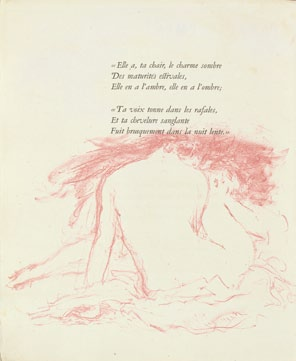 Bonnard, Summer, illustration from Parallélement by Verlaine, 1900. Lithograph with rose-sanguine ink, 11 5/8 x 9 5/8 in. Van Gogh Museum, Amsterdam.