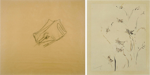(Left) Morris Graves, Tree Frog, 1940, Pencil on paper; 19 3/8 x 22 3/4 in.; 49.2125 x 57.785 cm.. Acquired 1943. (Right) Bonnard, Pierre, Grasshoppers, 1904, Ink on paper; 7 1/2 x 6 1/8 in.; 19.05 x 15.5575 cm.. Acquired 1937.