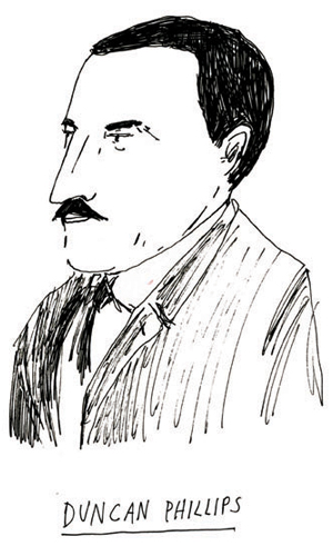 Hand-drawn illustration of Phillips founder Duncan Phillips, in profle, by local illustrator and Phillips staff member Elizabeth Graeber.