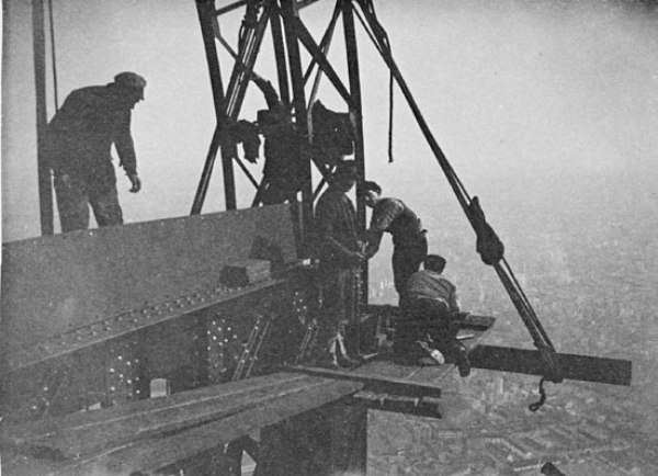 "Henri Riviere, The Eiffel Tower: Five men at work on part of the otp floor at the foot of the ""bell tower,"" 1889. Gelatin silver print, 3 1/2 x 4 3/4 in. Musée d'Orsay, Paris. Gift of Mme Bernard Granet and her children and Mlle Solange Granet, 1981. © 2012 Artists Rights Society (ARS), New York / ADAGP, Paris."