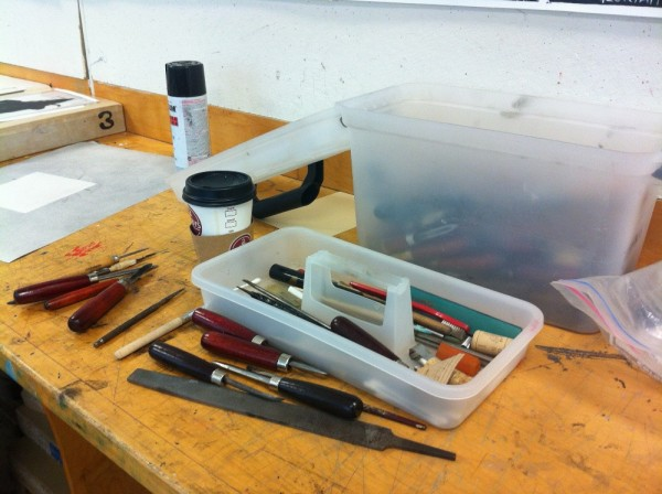 A photograph of tools in master printer Scip Barnhart's studio taken by Brooke Rosenblatt during a visit.