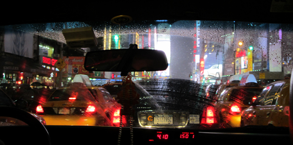 Photo from cab of traffic in Times Square by Amanda Jiron-Murphy
