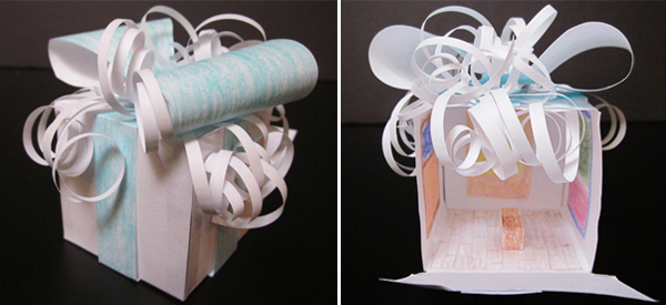 Photos of a hand-made paper gift box created by Amy Wike containing a miniature recreation of the Phillips's Rothko Room