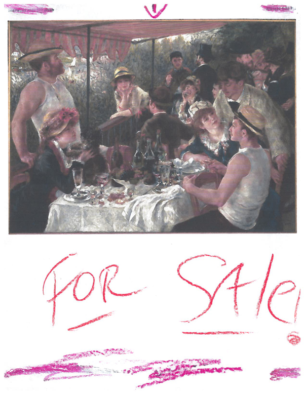 Blog contributor Rolf Rykken's birthday card for the blog is a cheeky offer to sell Renoir's Luncheon of the Boating Party
