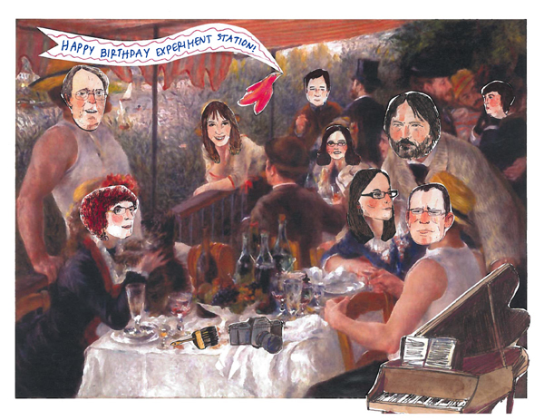 In image of Renoir's Luncheon of the Boating Party in which guests faces are replaced with blog contributor portraits. By Vivian Djen