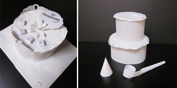 Photos of two hand-made paper cakes by Sue Ahn and Sandy Lee