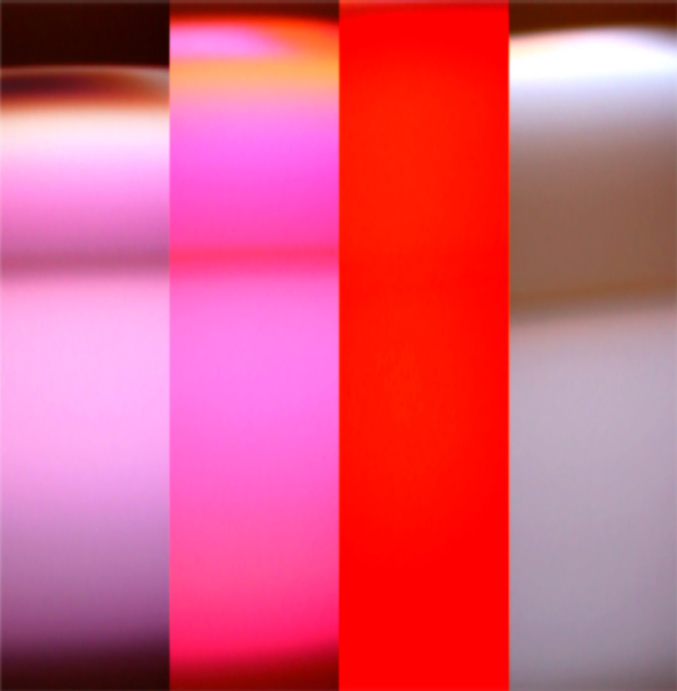 Photo collage showing multiple bands of color from Leo Villereal's digial light artwork Scramble, created by Kate Boone.