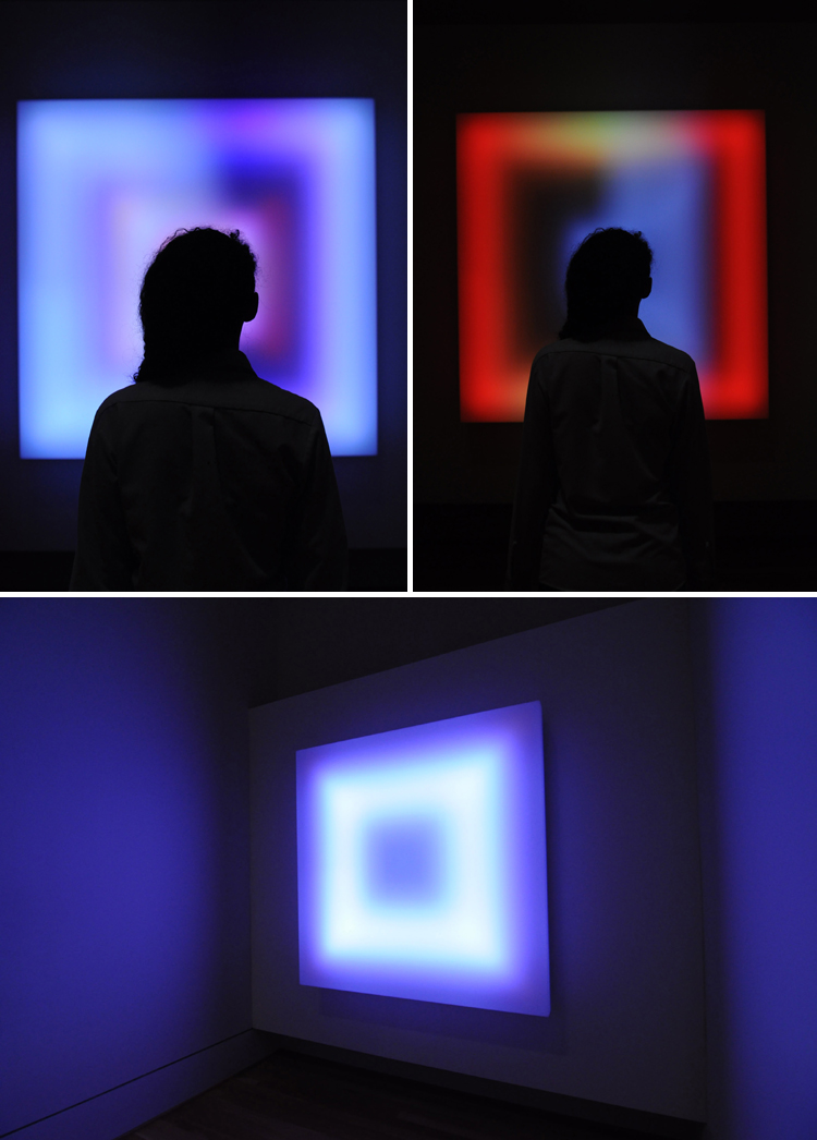 Photos of viewer silhouetted by square, multi-colored digital light artwork by Leo Villereal taken by Joshua Navarro.