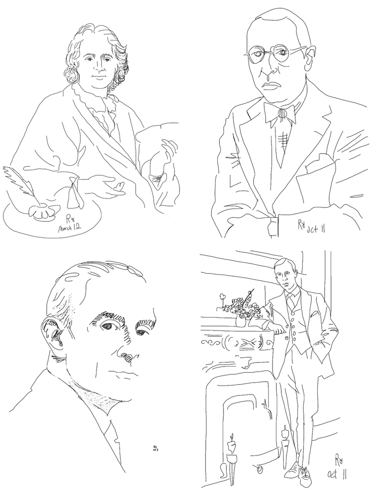 Illustrations of composers by Roman Rabinovich created using iPad's Paint Joy app.