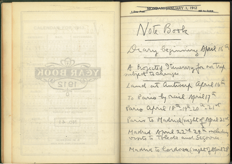 1912 travel journal of Duncan Phillips