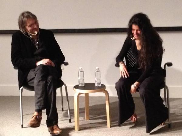Photo of Curator at Large Klaus Ottmann and Janine Antoni as they sit down for a conversation after her dance. Photo: Meg Clark