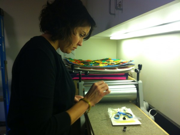 Amanda creates her composition. Photo: Brooke Rosenblatt