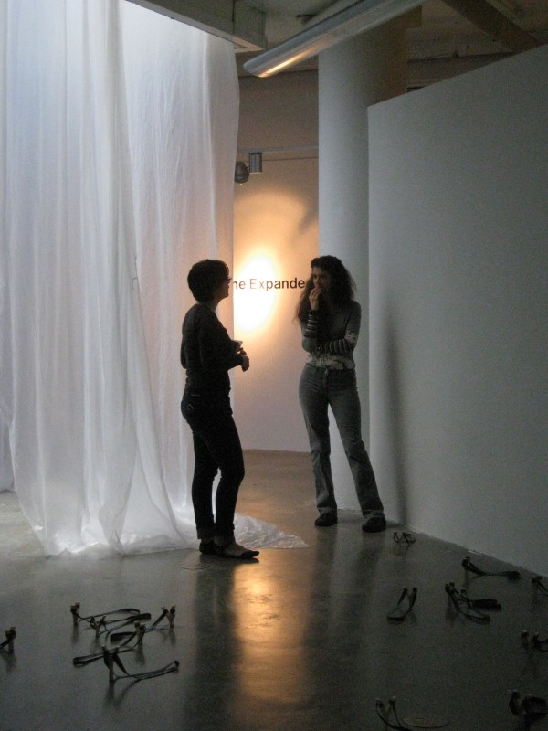 Visiting artist Janine Antoni (right) with GW student and artist Rachel Schechtman. Photo: Meg Clark
