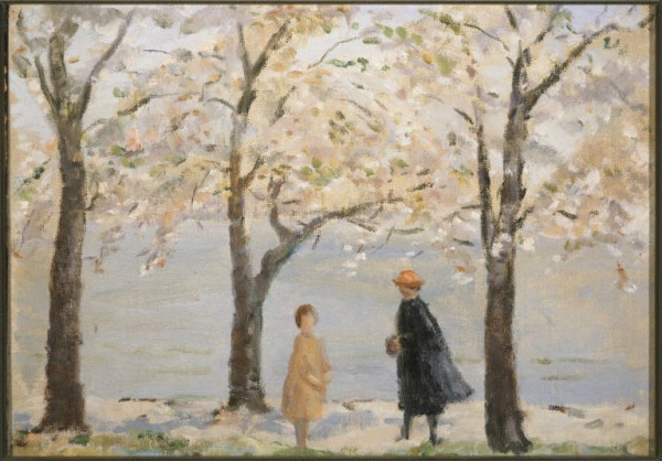 Painting by Marjorie Phillips of a woman in hat and jacket with young girl under blossoming cherry blossom trees at the Tidal Basin.