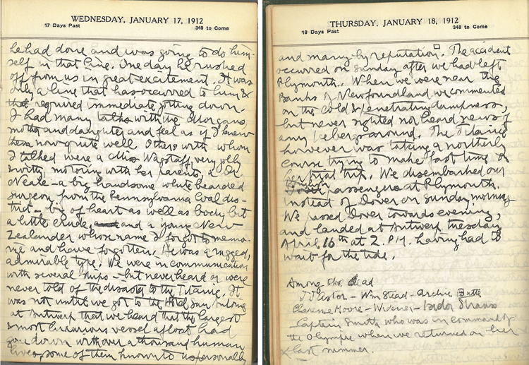 Journal pages including Phillips's knowledge of the sinking of the Titanic