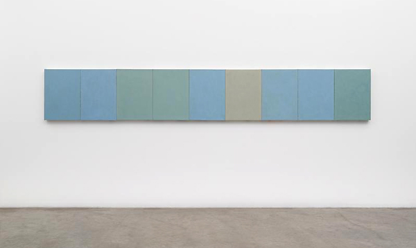 Brice Marden, Ru Ware Project, 2007–2012, Oil on linen. Nine canvases, each: 24 x 18 inches. Matthew Marks Gallery, New York