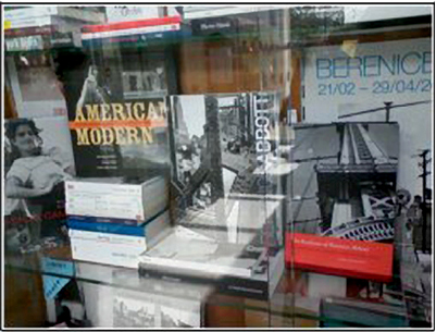 Scholar Terri Weissman's books on documentary photography on display in the shop window at Jeu de Paume, Paris. Photo: Terri Weissman