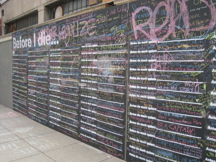 "The ""Before I Die"" wall. Photo: Amanda Jiron-Murphy"