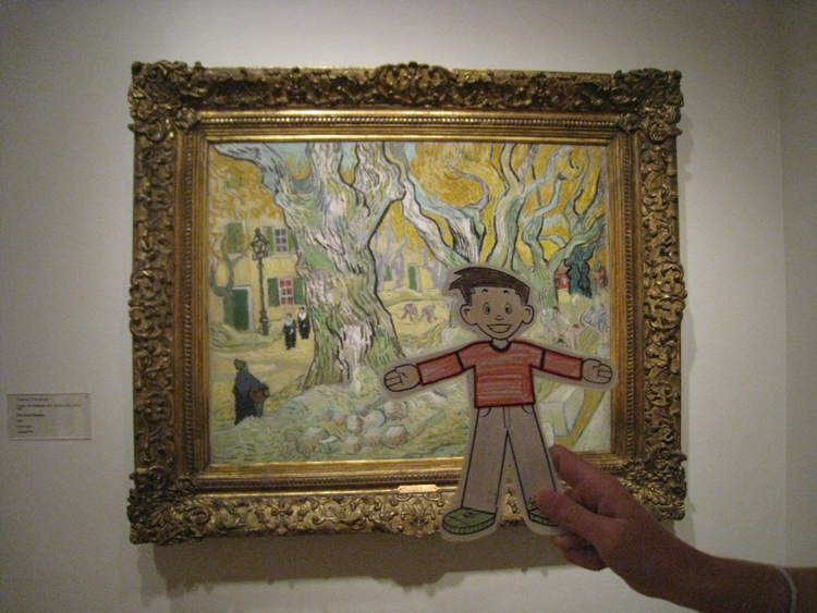 Flat Stanley with his favorite painting by van Gogh. Photo: Natalie Mann