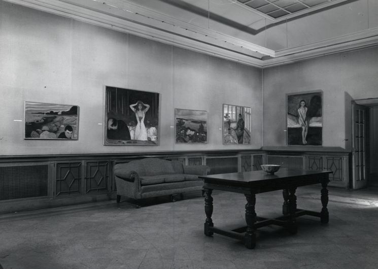 Edvard Munch installed in the Main Gallery, 1950