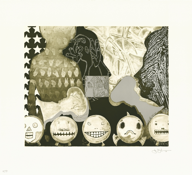 Jasper Johns, Shrinky Dink 4, 2011. Intaglio, 28 3/4 x 31 3/4 in. Published by Universal Limited Art Editions. Courtesy ULAE © Jasper Johns and ULAE / Licensed by VAGA, New York, NY
