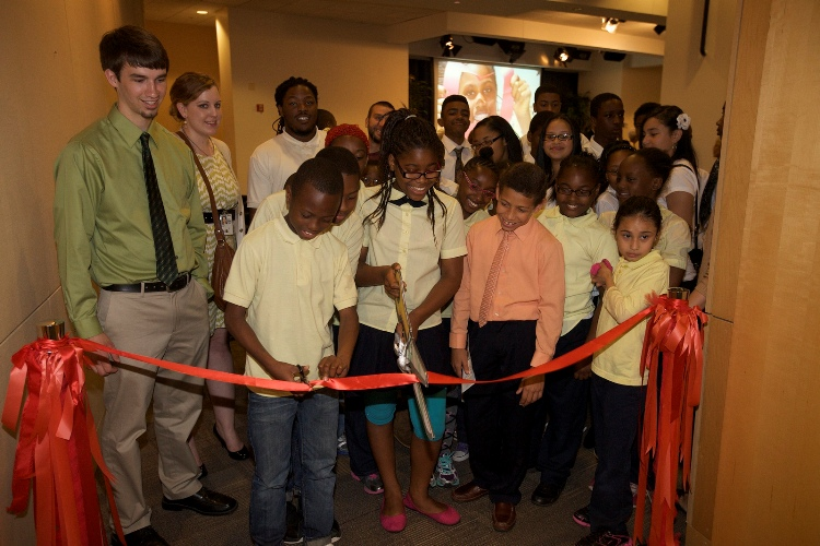 Students cut a ribbon to launch their exhibition on Tuesday, May 15. Photo: US Department of Education's photostream, Flickr.com