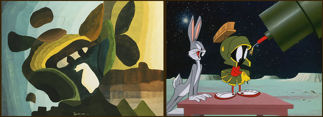 (left) Arthur Dove, 1941, 1941. Wax emulsion on canvas, 25 x 35 in. The Phillips Collection, Washington, D.C. Acquired 1942. (right) Looney Tunes' Marvin Martian (with Bugs Bunny).