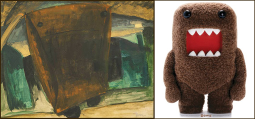 (left) Arthur Dove, Coal Carrier, 1929 or 1930. Oil on canvas, Oil on canvas, 20 x 26 in. The Phillips Collection, Washington, D.C. Acquired 1930. (left) Domo, mascot of NHK (Japanese Broadcasting Corporation).