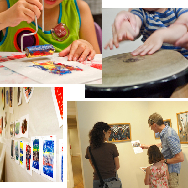 Photos of artmakring, instrument playing, and art looking at the Jazz 'n Families Fun Days