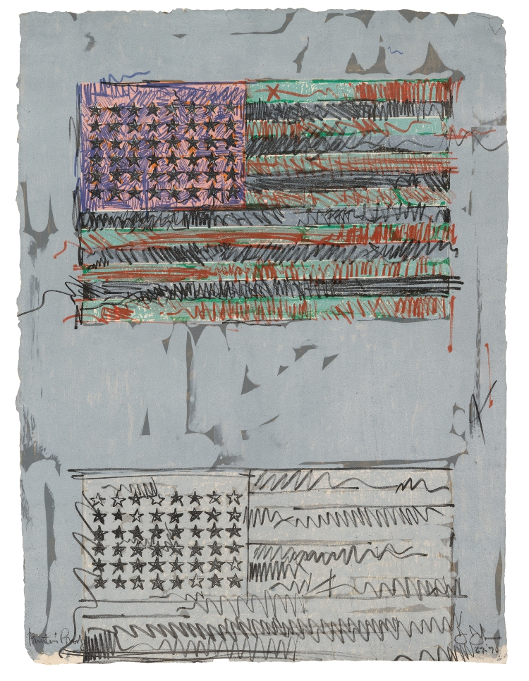 Jasper Johns, Flags II, 1970. Lithograph, 34 x 25 in. Published by Universal Limited Art Editions. John and Maxine Belger Foundation © Jasper Johns and ULAE / Licensed by VAGA, New York, NY.