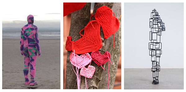 Images of Gormley's sculpture adorned with knitwear, the Phillips and Looped hand-knit valentine to Dupont, and a sculpture from the current Gormley exhibition at the Phillips