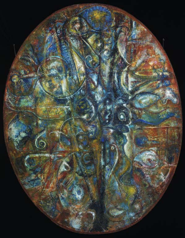 Richard Pousette-Dart, Untitled, 1948. Oil on canvas, 44 1/2 x 34 1/2 in. (oval). The Phillips Collection, Washington, D.C. Gift of David Novros, 1991 © 2008 Estate of Richard Pousette-Dart / Artists Rights Society (ARS), New York