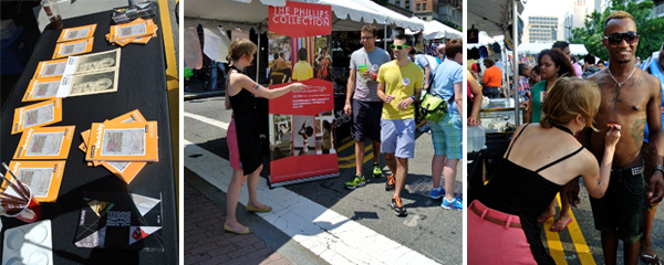 Photos of volunteers promoting the Phillips with flyers and body paint at Capital Pride Festival