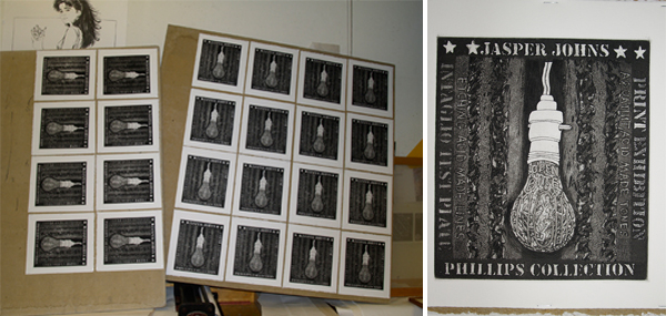 Special edition prints (intaglio) drying in the studio. Photo: Scip Barnhart