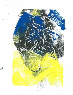 A print created by Sophia in the art-making workshop