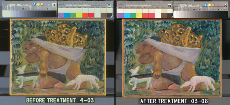 "Conservation treatment photos of ""Leopard Hunter"", undated, by Jean Charlot. Oil on canvas, 11 x 14 in. The Phillips Collection, Wa"