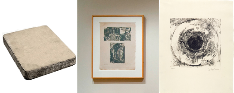 (left to right) Lithography stone; 0 from Jasper Johns, 0–9, 1963. 10 lithographs, 20 5/8 x 15 1/2 in.; Jasper Johns, Target, 1960. Lithograph, 22 1/2 x 17 1/2 in; Both Johns prints published by Universal Limited Art Editions. John and Maxine Belger Foundation © Jasper Johns and ULAE / Licensed by VAGA, New York, NY.