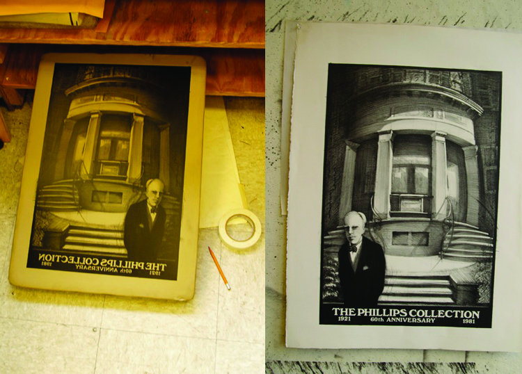 Photos of the plate and print proposed by Scip Barnhart for the Phillips's 60th anniversary